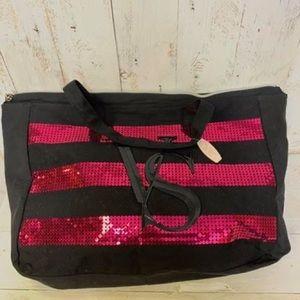 Victoria's Secret Sequined Bag Black & Hot Pink